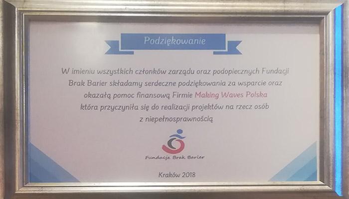 Podziękowanie dla Making Waves Polska