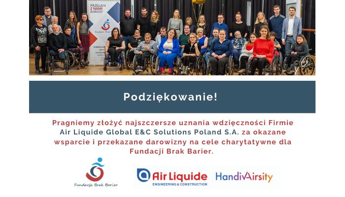 Podziękowanie za okazane wsparcie, grupowa grafika podopiecznych Fundacji, na dole logo fundacji